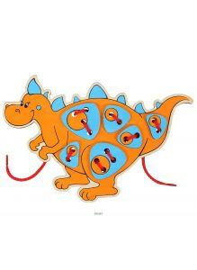 Шнурозаврик-2. Шнуровка деревянная. Игрушка Вуди