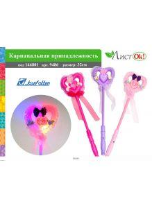 Карнавальная принадлежность «Палочка-сердечко» светится, пластик, 32 см (9486)