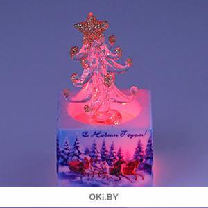 Сувенир «Елочка на подставке» с подсветкой, 8 см, стекло (арт. 79408)