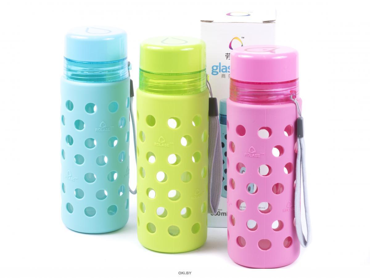 БУТЫЛКА стеклянная для питья с силиконовым чехлом 380 мл (арт. 10538, код 500143)