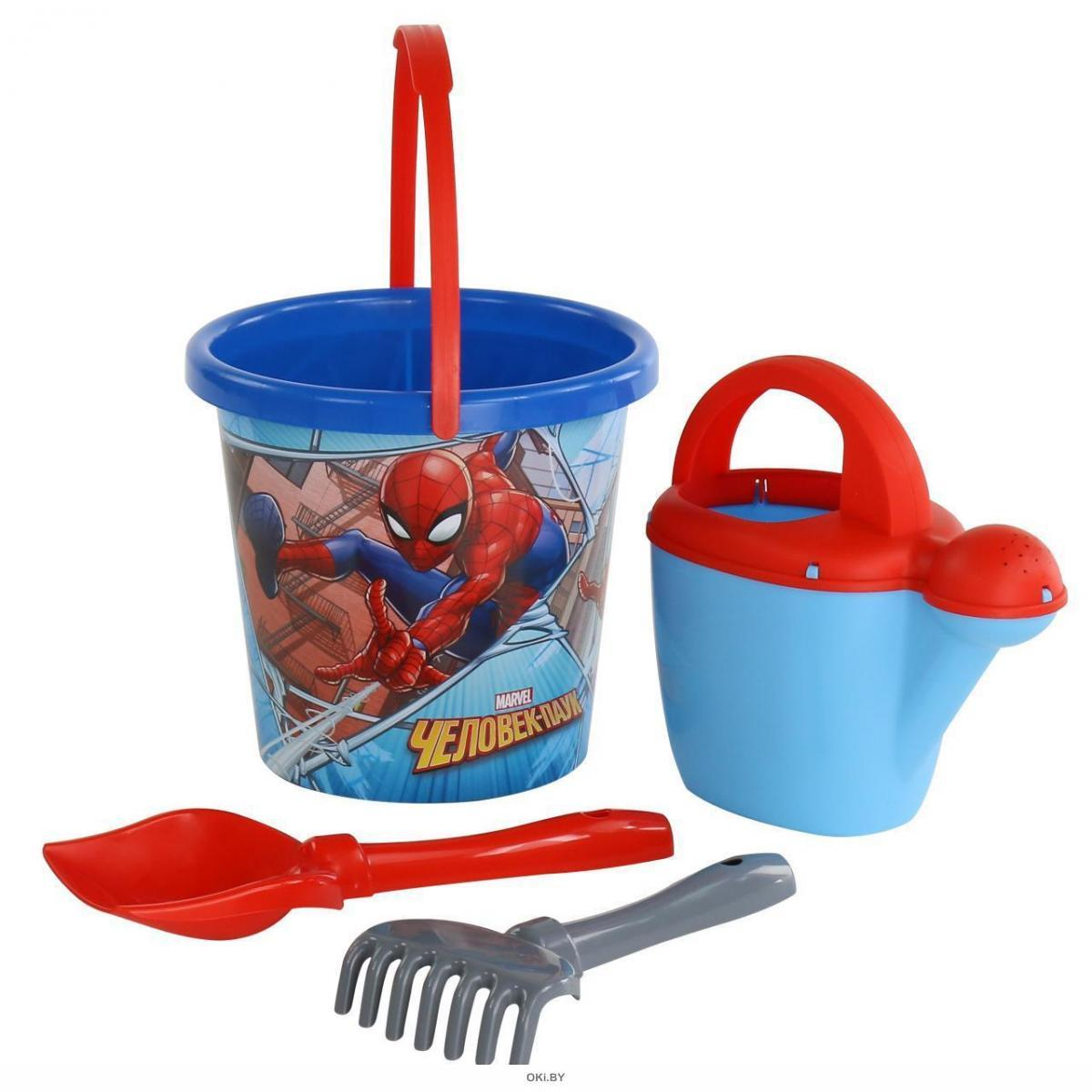 Набор Marvel «Человек-Паук» №9: ведро с наклейкой, лопатка №5, грабельки №5, лейка №10