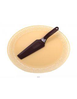 НАБОР ДЛЯ ТОРТА стеклянный «Версаче» 2 пр.: блюдо 30 см + Лопатка пластмассовая (арт. Б10-32вербеж1/7, код 726303)