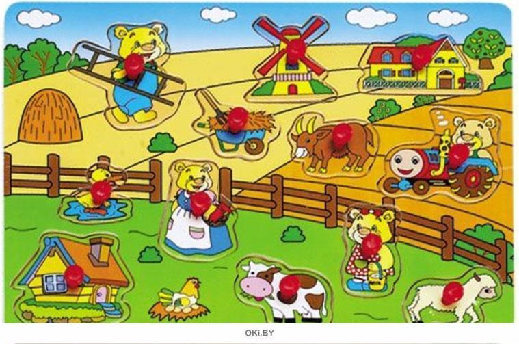 Игра детская настольная пазл «ферма» (hongji toys)