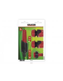 РАЗБРЫЗГИВАТЕЛЬ САДОВЫЙ пластмассовый 2 режима 13,5 см + переходники 3 шт. (арт. KRTGR6601, код 070440)