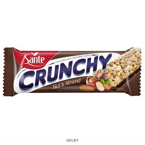 Батончик мюсли Crunchy с лесным орехом и миндалем в шоколаде (40 г)
