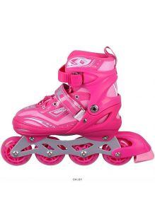 Роликовые коньки для девочек размер (35-38) раздвижные, розовые