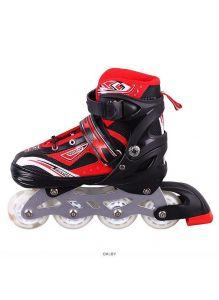 Роликовые коньки для мальчиков размер (30-34) раздвижные, черно-красные
