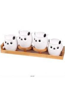 Банки для сыпучих продуктов «Совы» в наборе (4 банки с крышками,4ложки,подставка)