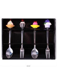 Ложки и вилки десертные с фигуркой 4шт в наборе (арт. DV-H-370)