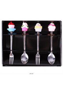 Ложки и вилки десертные с фигуркой 4шт в наборе (арт. DV-H-373)