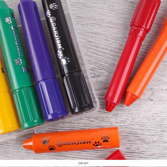 Мелки восковые 6цв «Darvish» в пластиковом пенале (набор)
