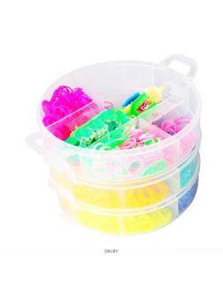 Набор резинок для плетения (станок,рогатка для плет.,крючок,резинки,крепл) в пласт.контейнере 3яруса