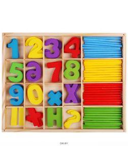 Набор счетных материалов (дерево) цифры(20шт), знаки(12шт) , счётные палочки (40шт)