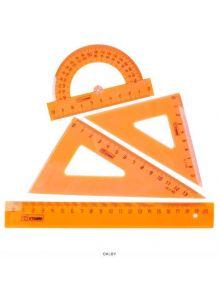 Набор геометр. средний пласт. прозрачный цветной (2треуг,лин.20см,транспор) СТАММ