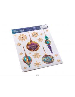 НАБОР НАКЛЕЕК декоративных на окно «Елочные игрушки» 1 лист 21*29 см (арт. 25590446, код 019624)