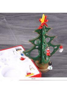 Елочка новогодняя дерев. на подставке с игрушками h-16см