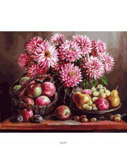 «Розовые георгины» картина на холсте (40 х 50 см) 230-AB
