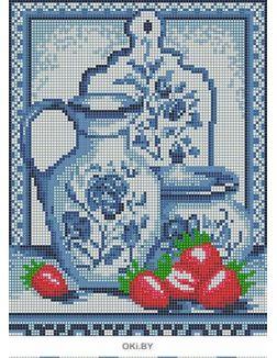 Гжель1 (выкладка Полная, стразы Круглые, 10 цветов) Алмазная мозаика, Картины БСА3-087