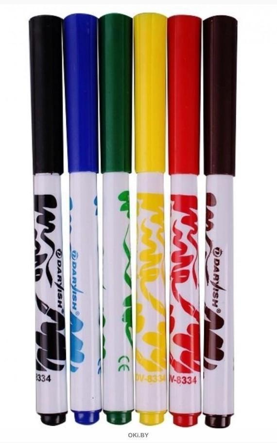 Фломастеры 6 цветов «Darvish» с мягкой кистью (набор)