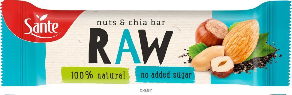 Фруктовый батончик RAW с орехами и семенами чиа, 35 грамм