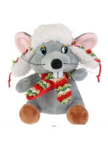 Игрушка мягкая Мышка в ушанке, без чипа (15 см)