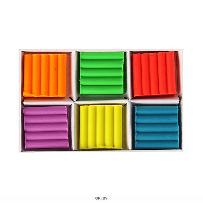 Пластилин  6 цветов, флуоресцентный, детский, 90 г,