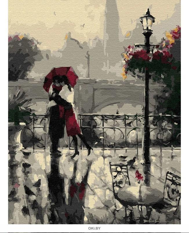 Влюбленные под дождем - живопись по номерам на картоне 30х40см, Azart