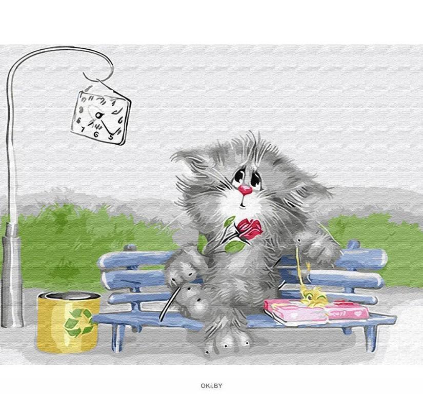 Кот-романтик - живопись по номерам на картоне 30х40см, Azart