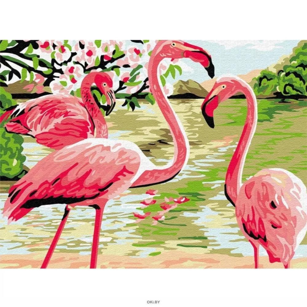 Фламинго - живопись по номерам на картоне 30х40см, Azart