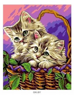 Котята в корзинке - живопись по номерам на картоне 30х40см, Azart