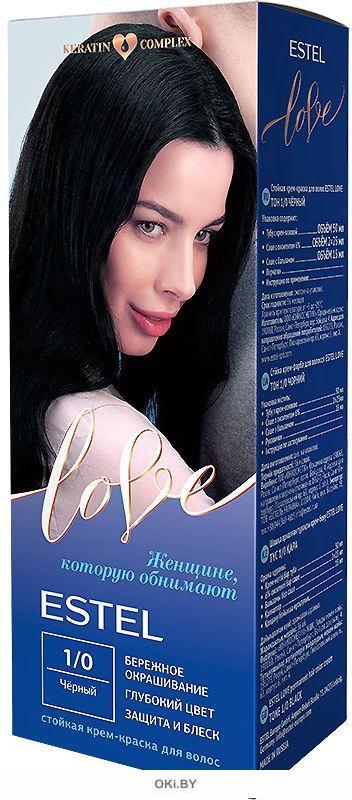 Чёрный тон 1/0 - тойкая крем-краска для волос  ESTEL LOVE