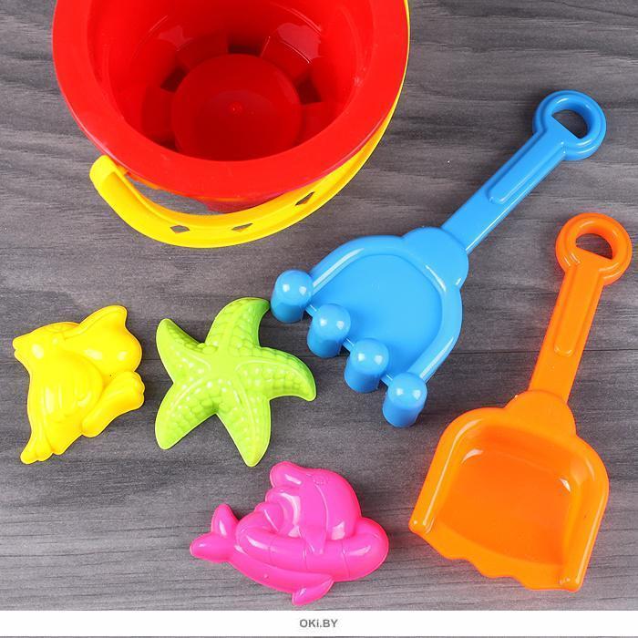 Игрушки для песочницы 5 шт в ведёрке (h-10 см)