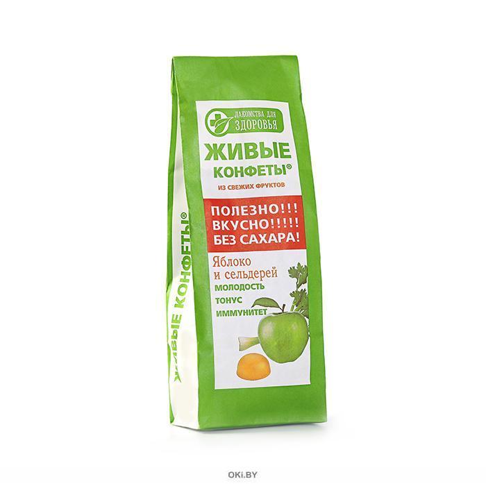 Мармелад на фруктозе из свежих фруктов «Живые конфеты» Яблоко и сельдерей170 г