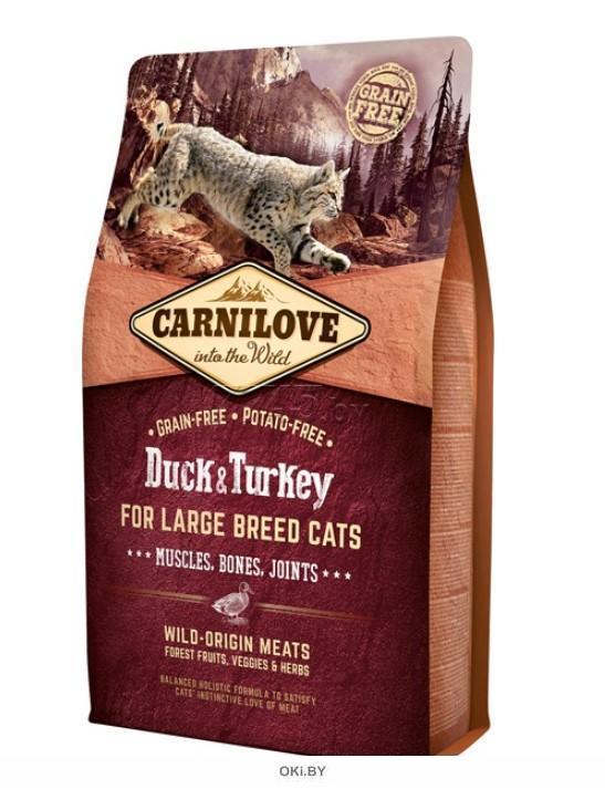 Корм для кошек сухой беззерновой CARNILOVE for Large Breed утка и индейка 6 кг (512751)