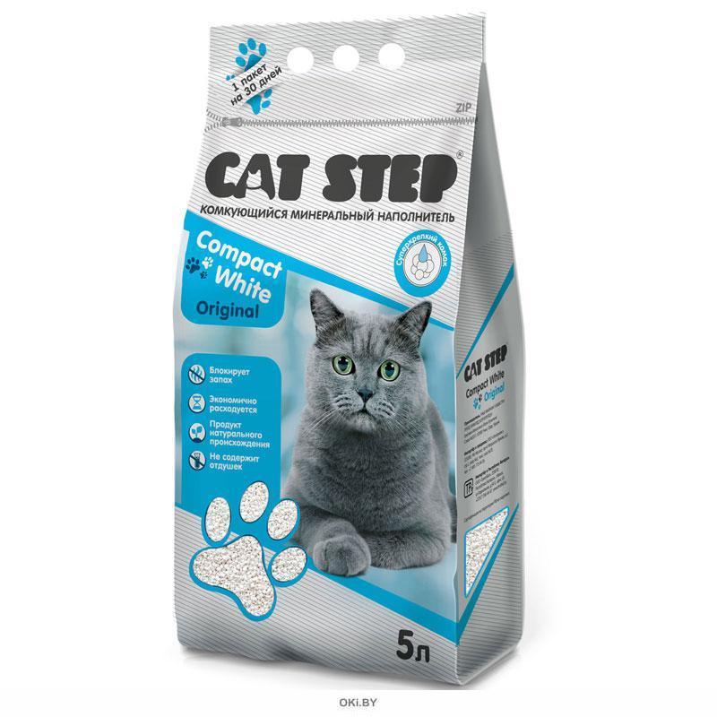 Комкующийся минеральный наполнитель CAT STEP Compact White Original, 5 л