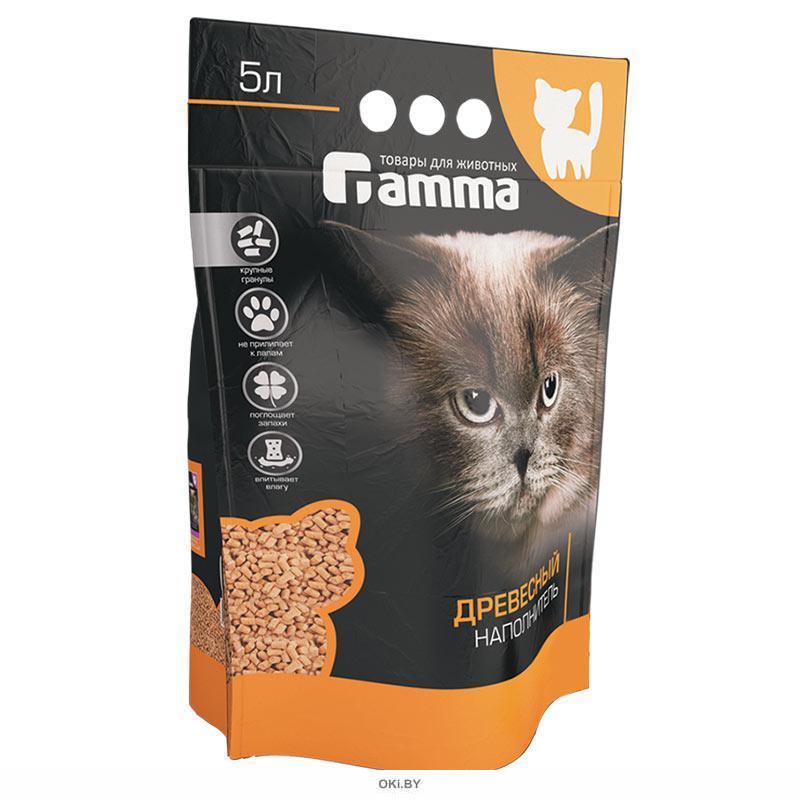 Наполнитель для кошачьих туалетов Gamma 5л, древесный  впитывающий, крупные гранулы