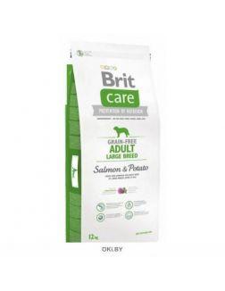 Корм сухой беззерновой для взрослых собак крупных пород BRIT Care Salmon & Potato Adult LargeBreed 12 кг (132727)