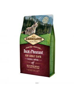 Сухой корм Carnilove Duck & Pheasant for Adult Cats - Hairball Control  для взрослых кошек, утка и фазан, 6 кг (512331)