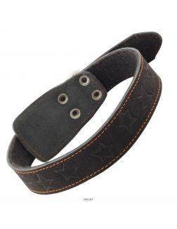 Ошейник кожаный на синтепоне с тиснением, 36мм*670мм