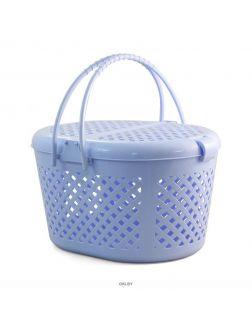 Переноска для животных из пластика M, овальная, голубая, 440*350*260 мм