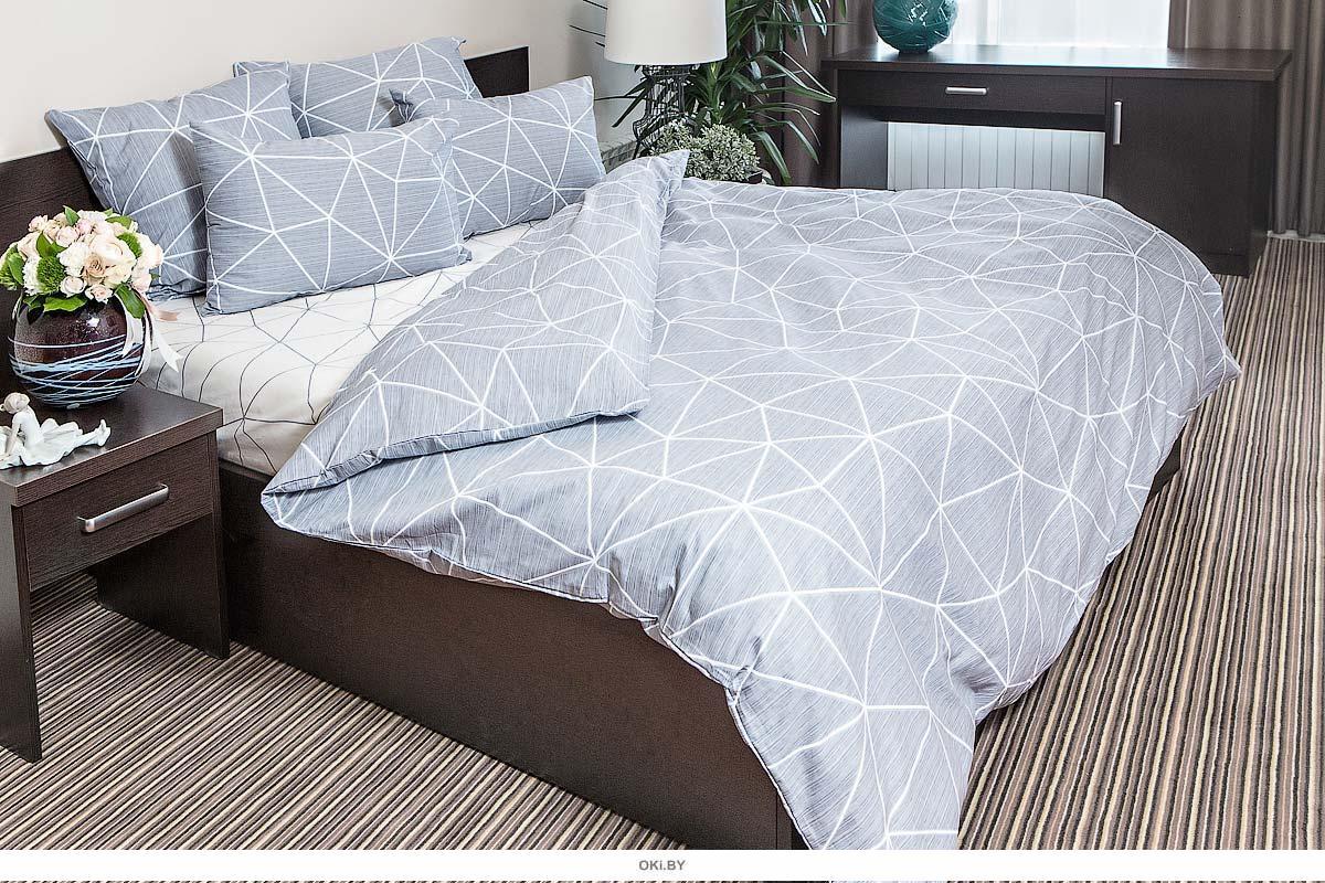 Постельное белье двуспальное Евро Ночь Нежна «Грань» в. 2 (серый) 7352-2+7353-1 Поплин 70х70 (2) стандарт