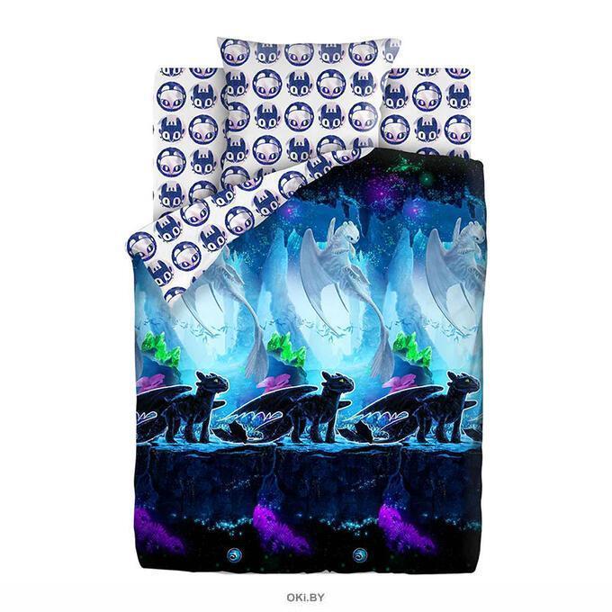 Постельное белье «Как приручить дракона Neon» 1,5 хлопок 50х70 см. (рис. 16136-1/16126-1 Таинственный мир)