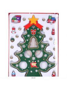 Ёлочка новогодняя деревенная на подставке с игрушками на батарейках (29 см. )