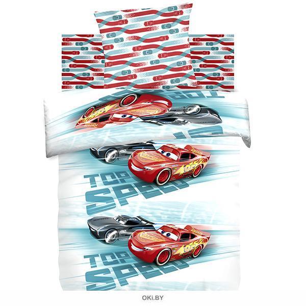 Детское постельное белье полутороспальное «Тачки. Высокая скорость» хлопок (70*70) (8878+8876) вид 3