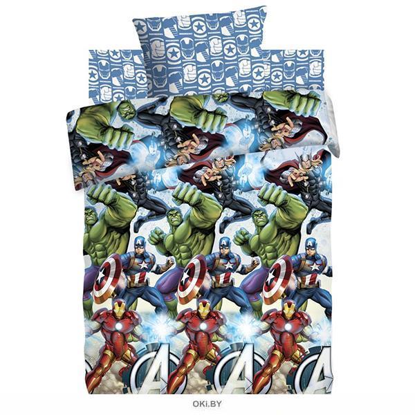 Детское постельное белье полутороспальное «Мстители»  (70х70) хлопок (9037-1 / 9038-1)