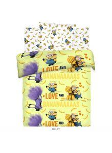 Детское постельное белье «Миньоны.  Бананас» 1,5 сп (70*70), бязь 8817+8818