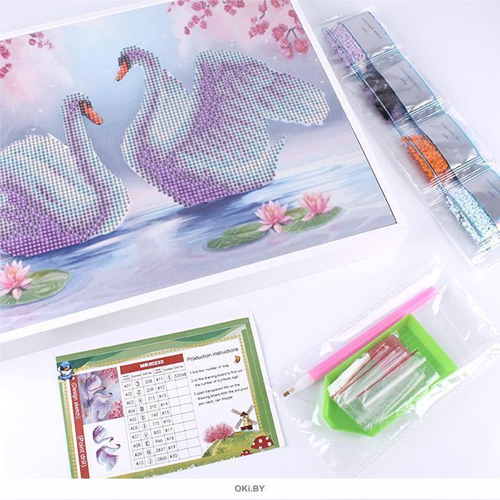 Лебеди - алмазная мозаика 25х30 см Darvish