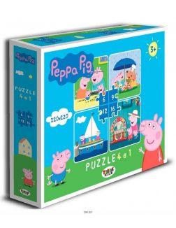 Пазл 4 в 1 «Свинка Пеппа №2» на 6,9,12,16 элементов