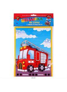 Пожарная машина - мозаика из страз самоклеящаяся 195х265 мм с европодвесом