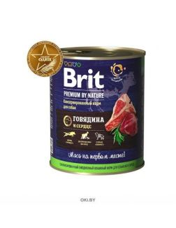 Брит NEW Консервы для собак Brit Premium BY NATURE Говядина и сердце 850 г (40179)